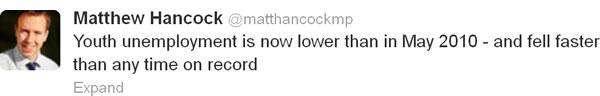 Matthew-Hancock-youth-unemployment-tweet-12-12-12